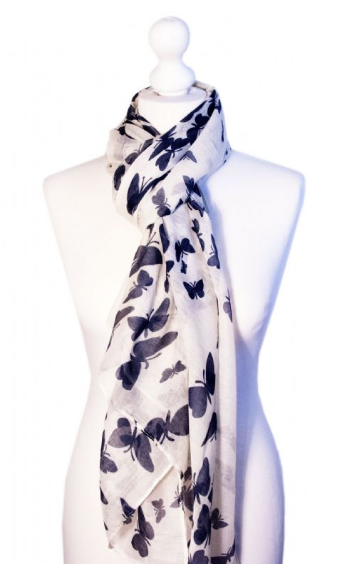 Believe -  Large Silky Touch Butterfly Printed Scarf (White/Blue)